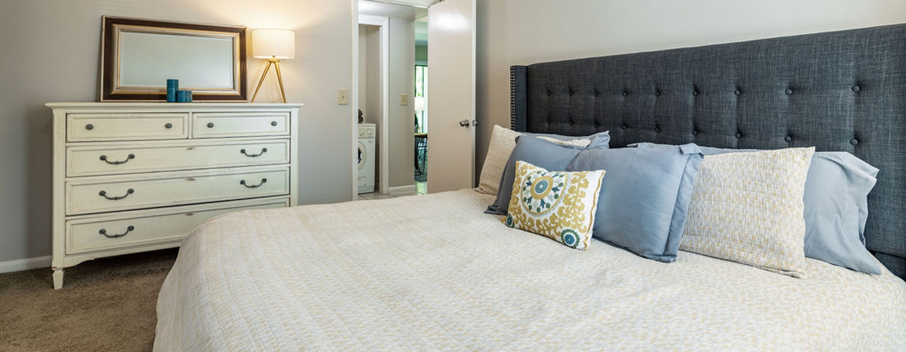 The Pointe at Clearwater Model Apartment Bedroom with Furnishings