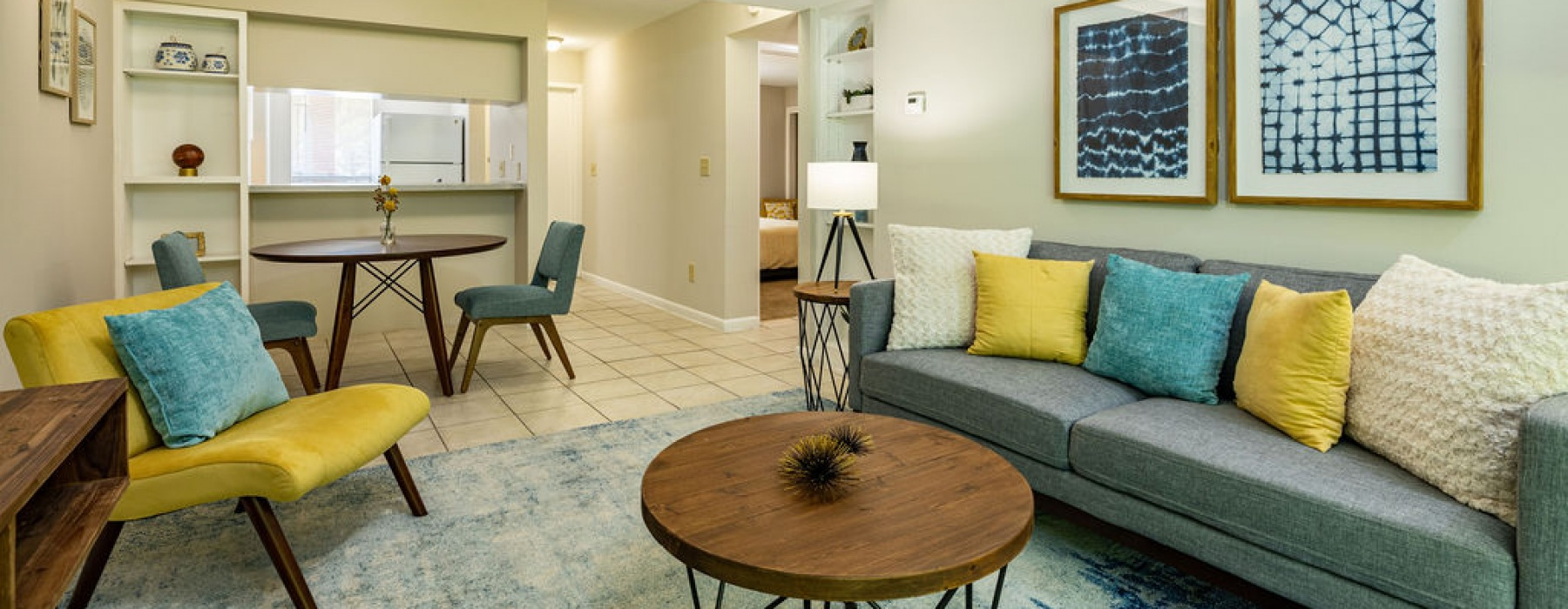 The Pointe at Clearwater Model Apartment Living Room with Furnishings